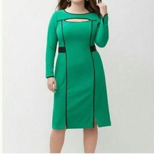 Lane bryant kelly green dress w/black details 20